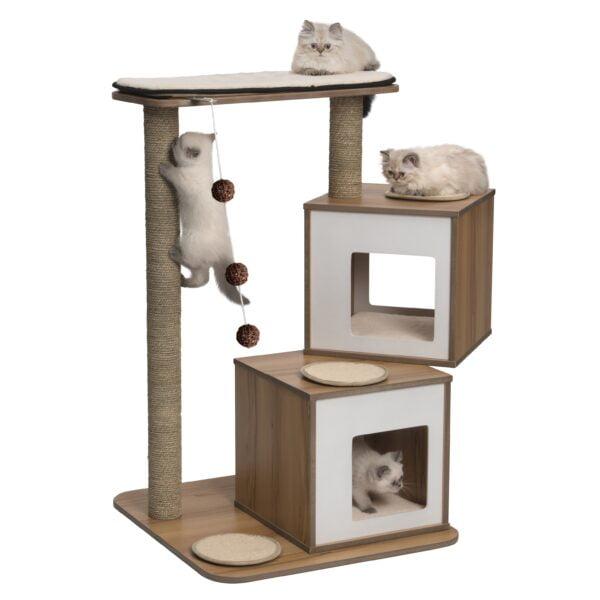 Arbre à chat - Meuble V-Double Vesper pour chats, noyer